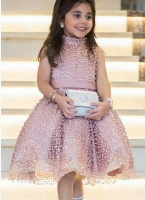 Chic Ball Gown Flower Girl Dresses   High Neck Pearls Short Pageant Dresses