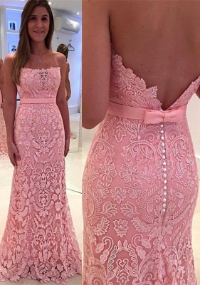 Gorgeous Pink Mermaid Lace Strapless Zipper Pearls Prom Dress_2