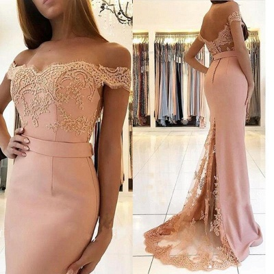 Sexy Pink Mermaid Evening Gowns | Off-the-Shoulder Appliques Prom Dress_3