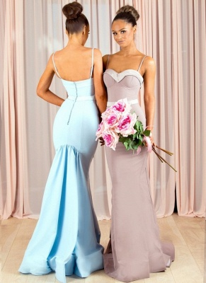 Sexy Mermaid Bridesmaid Dresses | Spaghettis Straps Buttons Back Maid of the Honor Dresses_1