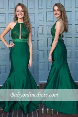 New Arrival Halter Backless Sleeveless Sweep-Train Mermaid Prom Dress with Beadings_3