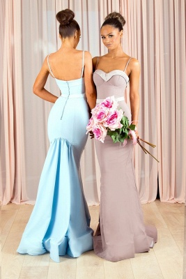 Sexy Mermaid Bridesmaid Dresses | Spaghettis Straps Buttons Back Maid of the Honor Dresses_3