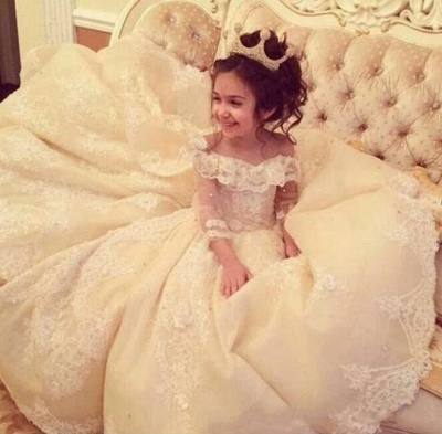 Gothic Ball Gown Flower Girl Dresses | Long Sleeves Girl Party Dresses_3