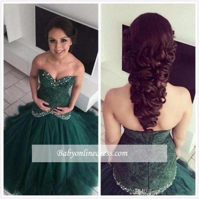 Sweetheart Glamorous Mermaid Lace Dark-Green Evening Dres_1
