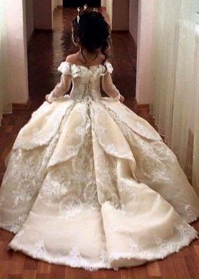 Gothic Ball Gown Flower Girl Dresses | Long Sleeves Girl Party Dresses