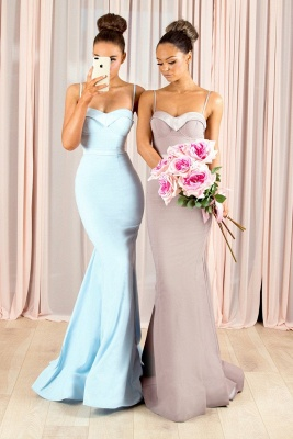 Sexy Mermaid Bridesmaid Dresses | Spaghettis Straps Buttons Back Maid of the Honor Dresses_4