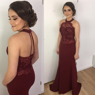 2018 Burgundy Prom Dresses Mermaid Lace Halter Backless Evening Gowns_3
