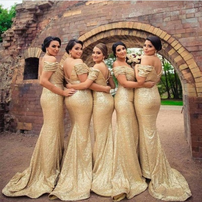 Gold Sequins Bridesmaid Dresses Off the Shoulder Sexy Mermaid Maid of the Honor Dresses_4