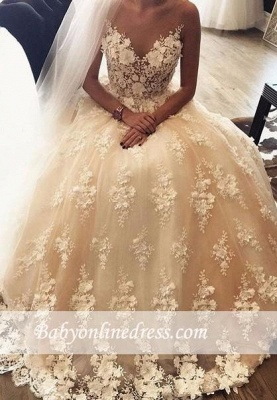 3D-Floral Sweep Train Exquisite Appliques A-Line Lace Sweetheart Wedding Dresses_1