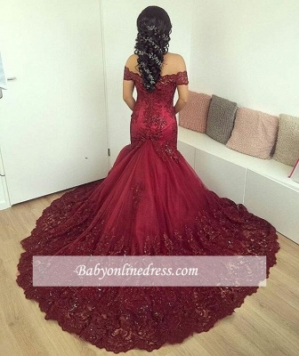 Off-the-Shoulder Lace Glamorous Burgundy Appliques Mermaid Evening Dress_4