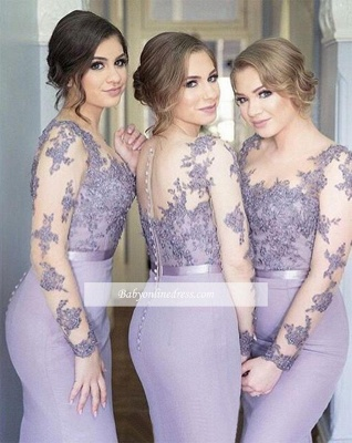 Illusion Lavender Appliques Mermaid Lace Long Sleeves Cheap Bridesmaid Dress_1