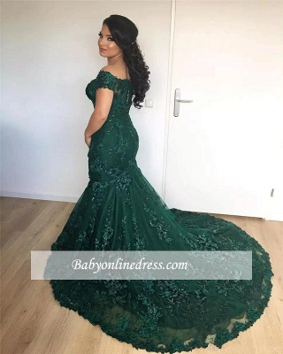 Off-the-Shoulder Lace Glamorous Burgundy Appliques Mermaid Evening Dress_2