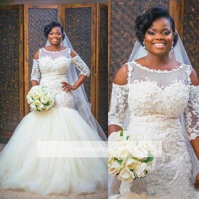Elegant Scoop Appliques Mermaid Tulle Wedding Dress with Half Sleeves_1