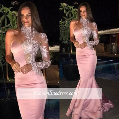 Gorgeous One-Shoulder Prom Dresses   High-Neck Lace Mermaid Evening Dress_1