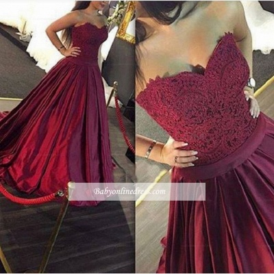 Sweetheart Elegant Burgundy Ball-Gown Lace-Applique Prom Dresses_1