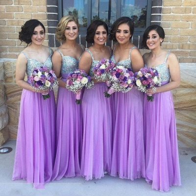 Lilac Long Bridesmaid Dresses Straps Chiffon Floor Length Maid of Honor Dresses_4