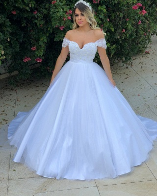 Elegant Pearls Ball Gown Wedding Dresses | Off-the-Shoulder Bridal Gowns_3