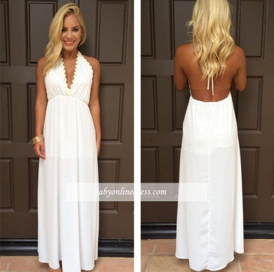 V-Neck Attractive Maxi White Halter Summer Backless Prom Dresses_1