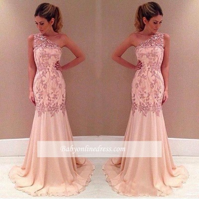 Applique Sexy Mermaid Pink One-Shoulder Long Chiffon Evening Dresses_1