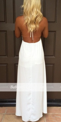 V-Neck Attractive Maxi White Halter Summer Backless Prom Dresses_3