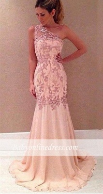 Applique Sexy Mermaid Pink One-Shoulder Long Chiffon Evening Dresses_3