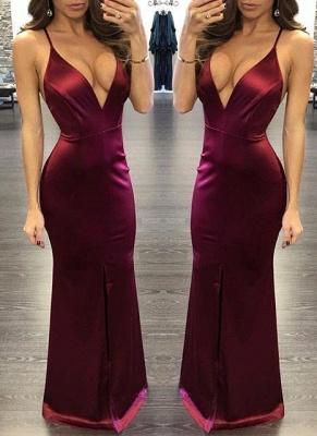 Spaghettis Straps Burgundy Prom Dresses | Alluring Slit Sheath Evening Gown_1