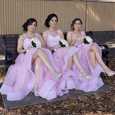 Elegant Appliques A-Line Straps Tulle Lace Bridesmaid Dresses_3