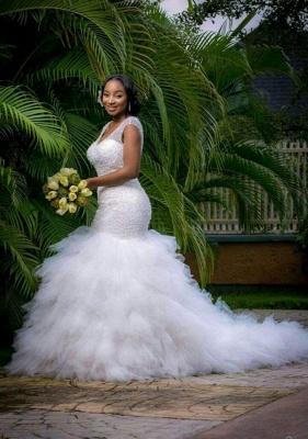 Beaded V-Neck Ruffles Mermaid Wedding Dresses with Lace-up Back_4