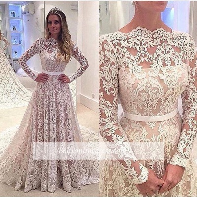 Bowknot Long-Sleeves A-Line Backless Lace Elegant Wedding Dresses_1