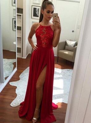Split Halter Chiffon Red Sexy Prom Dress 2018_3