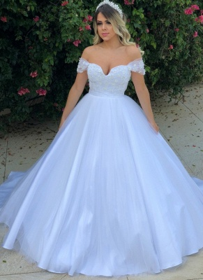 Elegant Pearls Ball Gown Wedding Dresses | Off-the-Shoulder Bridal Gowns