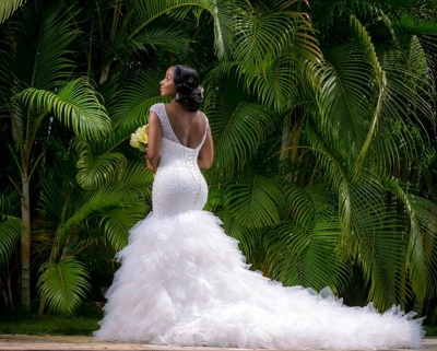 Beaded V-Neck Ruffles Mermaid Wedding Dresses with Lace-up Back_5