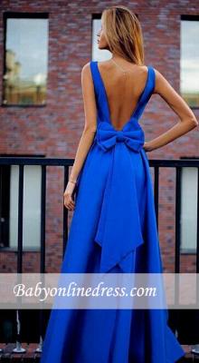 Floor-Length Bowknot Royal-Blue Elegant Open-Back Prom Dresses_3