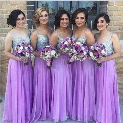 Lilac Long Bridesmaid Dresses Straps Chiffon Floor Length Maid of Honor Dresses_3
