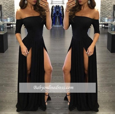 Sexy Slits Prom Dresses Half Long Sleeves Off-the-shoulder Evening Gowns_1