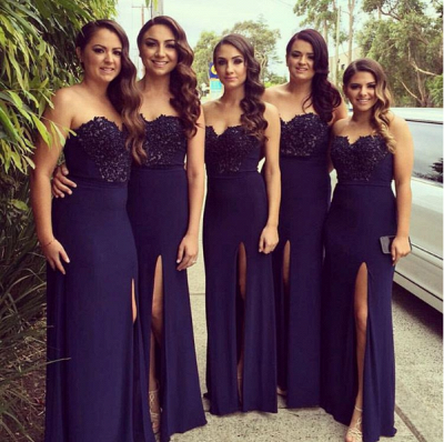Glamorous Sweetheart Neck Navy Blue Lace Simple Side Slit Bridesmaid Dresses_3