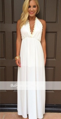 V-Neck Attractive Maxi White Halter Summer Backless Prom Dresses_4