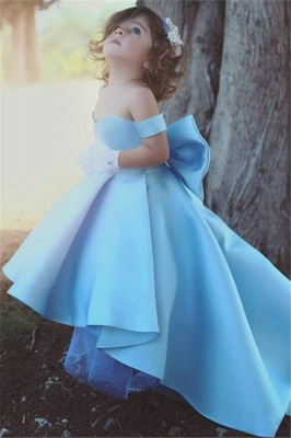 Lovely Simple Bow Blue Off-the-Sholder Flower-Girls Dresses_2