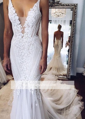Elegant Open-Back Appliques V-Neck Mermaid Wedding Dresses_1