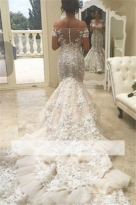 Elegant Tiered Appliques Off-the-Shoulder Tulle Mermaid Wedding Dress with Buttons_1