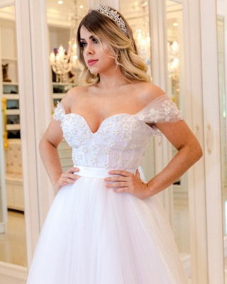 Elegant Pearls Ball Gown Wedding Dresses | Off-the-Shoulder Bridal Gowns_4
