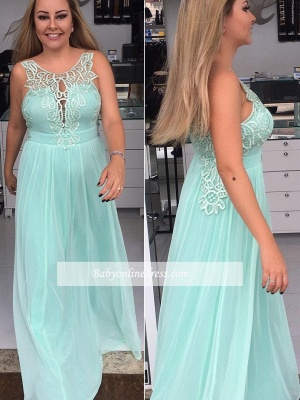 Chiffon Elegant Applique A-line Sleeveless Scoop Prom Dresses_3