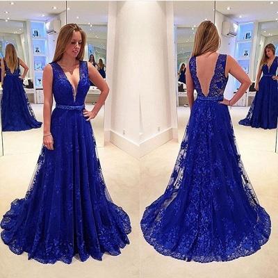 Hot Royal Blue Lace Evening Dress 2018 V-Neck Sleeveless_3