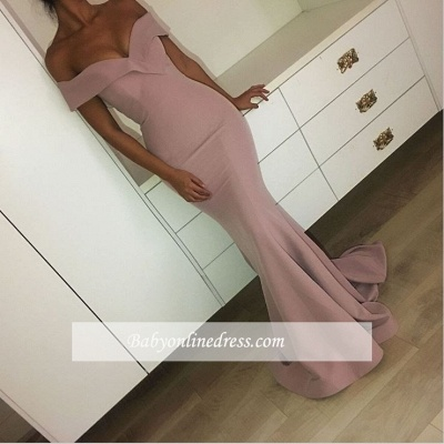2018 Mermaid Off-the-Shoulder Sexy Long Plain Pink Prom Dresses_1