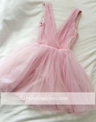Simple Tulle Short Cute Pink V-neck Homecoming Dress_1