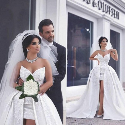 Hi-Lo Lace Appliques Short Front Puffy Amazing Wedding Dresses_4