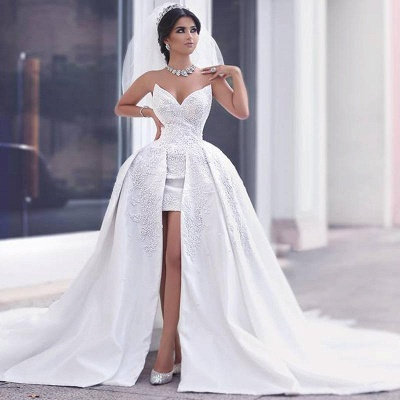 Hi-Lo Lace Appliques Short Front Puffy Amazing Wedding Dresses_3