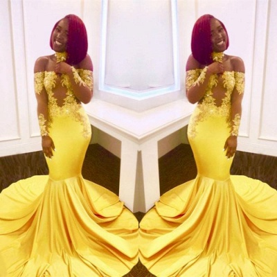 Shiny Yellow Mermaid Prom Dresses | Off-the-Shoulder Evening Gowns with Choker_3