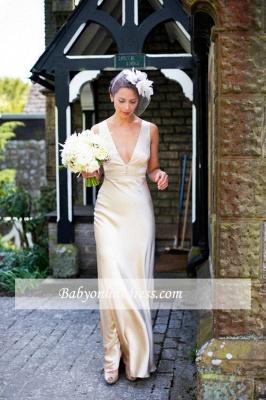 Summer Sleeveless V-Neck Wedding Dresses Floor Length Empire Brdial Gowns_1