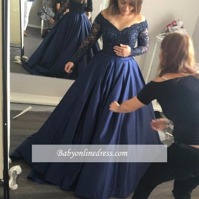 Navy-Blue Elegant Lace Long-Sleeves Off-the-Shoulder Prom Dress_1